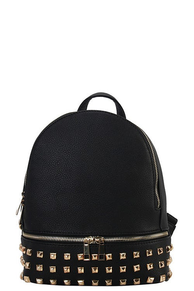 Designer studded women's backpack black