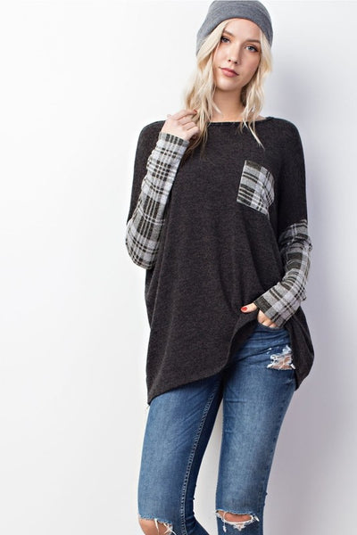 Plaid sleeve and pocket trendy women's top