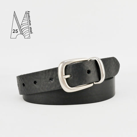 "Buckle and Loop 1 1/8"" Black Leather Belt"