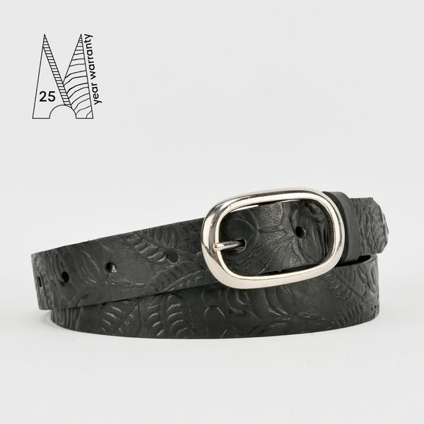 "1"" Tooled Classic Black Leather Belt"