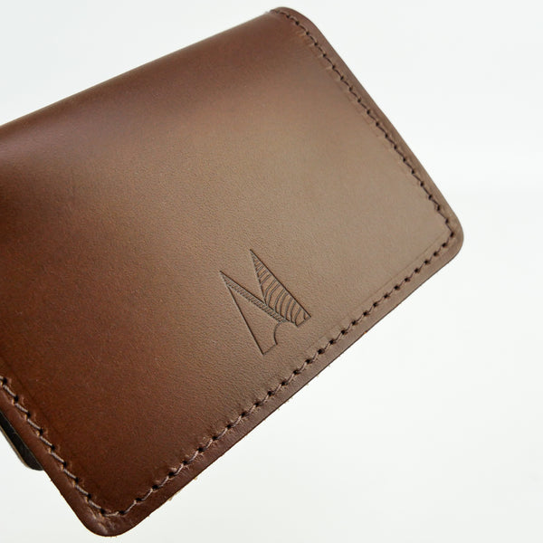 Chocolate Brown Leather Card Holder - Roam