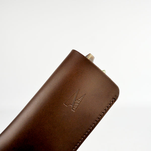 Chocolate Brown Leather Glasses Case - Roam