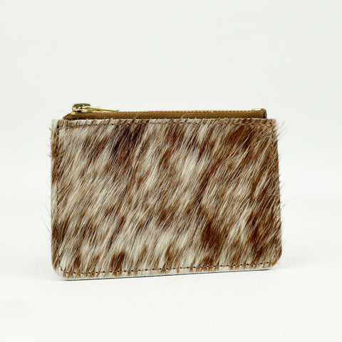 Hair on Hide Natural Leather Zip Purse - Roam