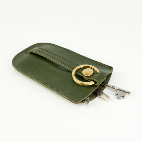 Olive Green Leather Bell Key Holder - Roam