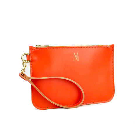 Tangerine Leather Wristlet Bag - Roam