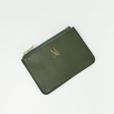 Olive Green Leather Zip Purse - Roam