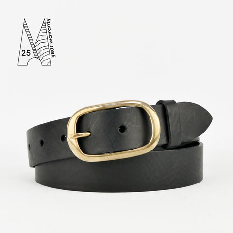 "1 1/4"" Classic Black Leather Belt"