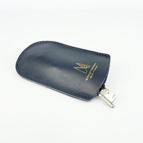 Navy Leather Bell Key Holder - Roam