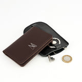 Chocolate Brown Leather Card Holder - Chroma