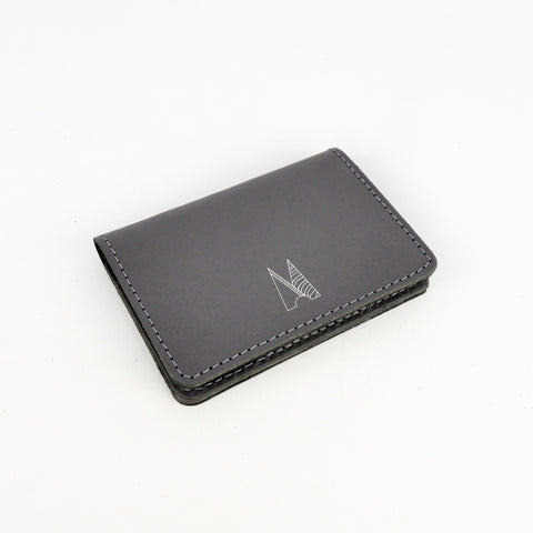 Slate Grey Leather Card Holder - Chroma
