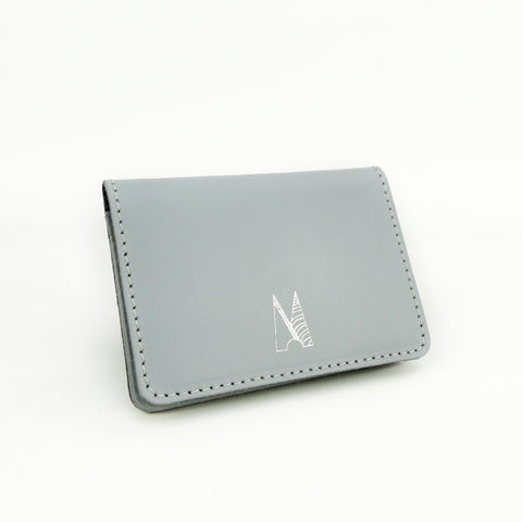 Dove Grey Leather Card Holder - Chroma