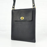 Flat Black Leather Turnlock Bag