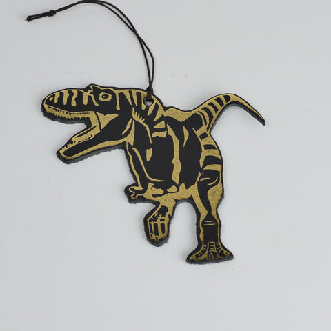 Leather Christmas T-rex Decoration