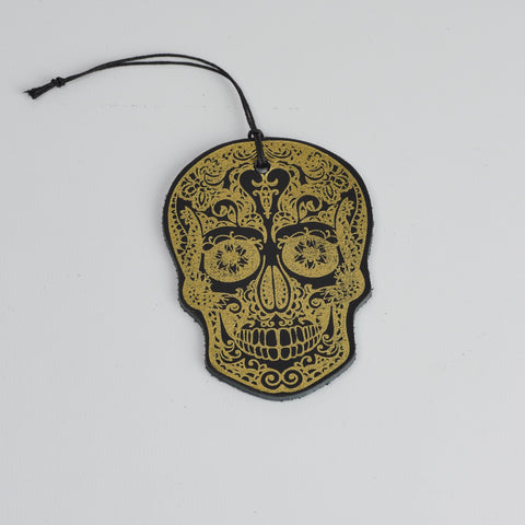 Leather Christmas Skull Decoration