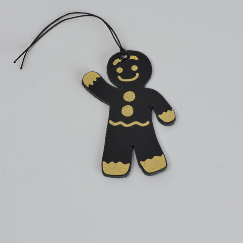 Leather Christmas Gingerbread Man Decoration