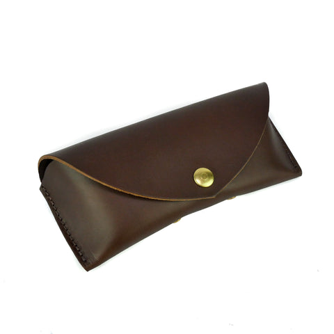 Chocolate Brown Leather Sunglasses Case - Roam