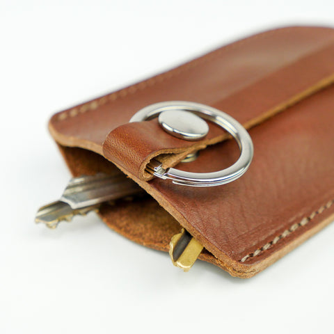Tan Leather Bell Key Holder