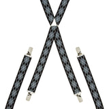 Argyle Black and Grey Skinny Braces