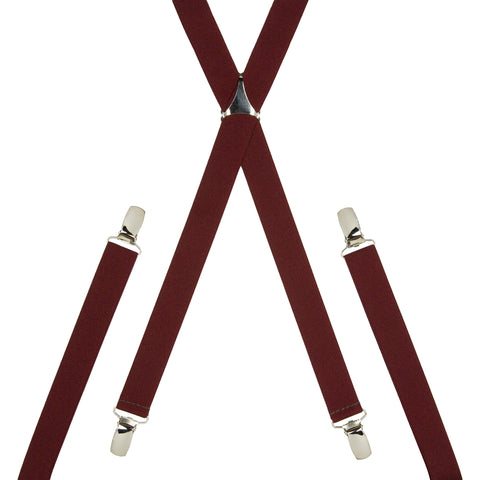 Plain Burgundy Skinny Trouser Braces