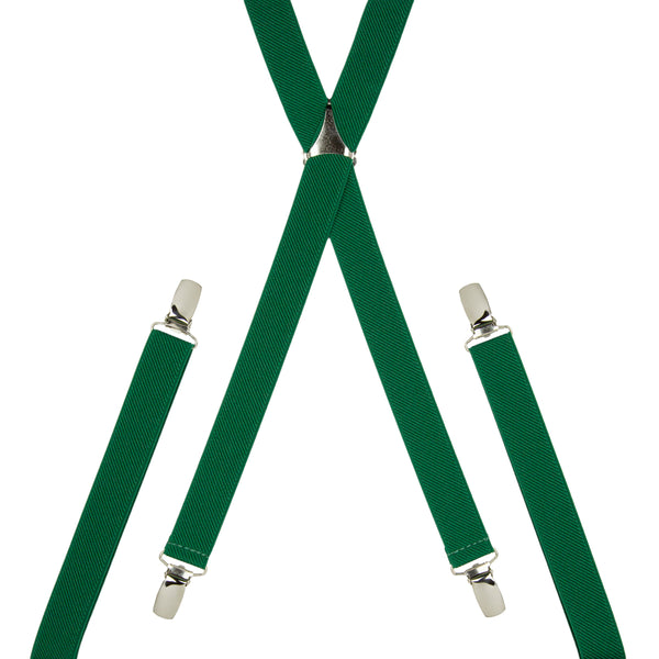 Plain Green Skinny Trouser Braces