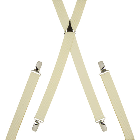 Plain Cream Skinny Trouser Braces