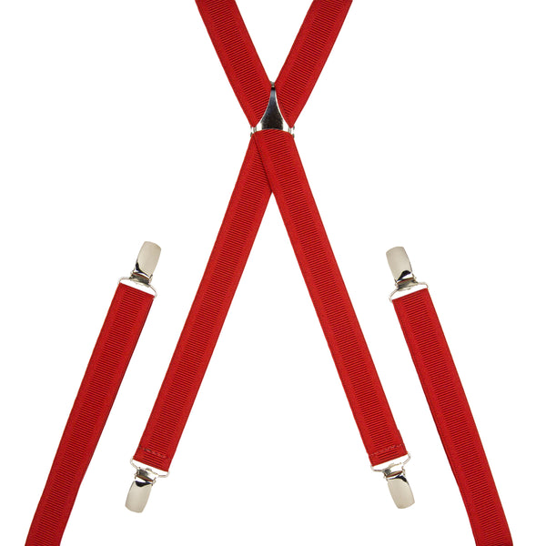 Plain Red Skinny Trouser Braces
