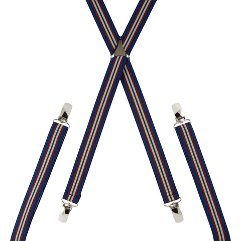 Pinstripe Navy Beige and Burgundy Trouser Braces