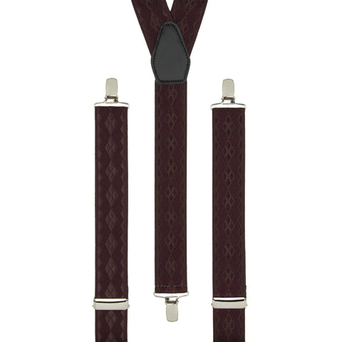 Burgundy Diamonds Trouser Braces