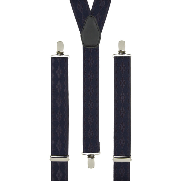 Navy Textured Diamonds Trouser Braces