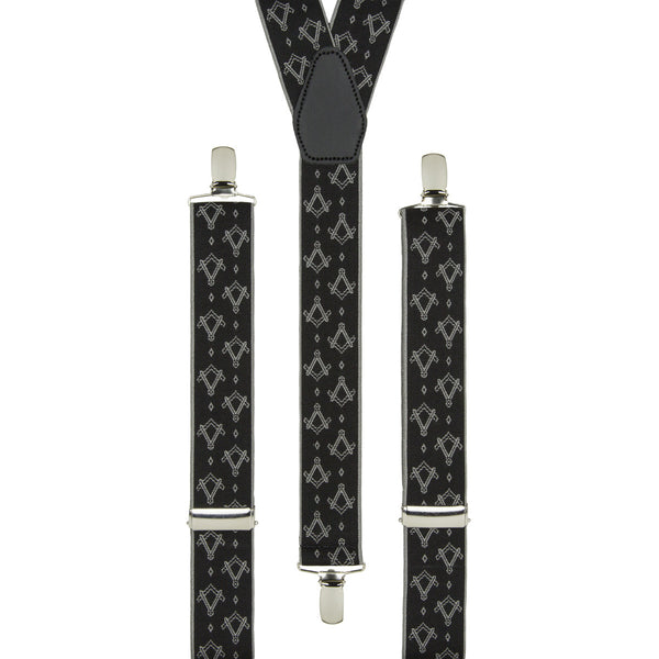 Silver and Black Masonic Braces