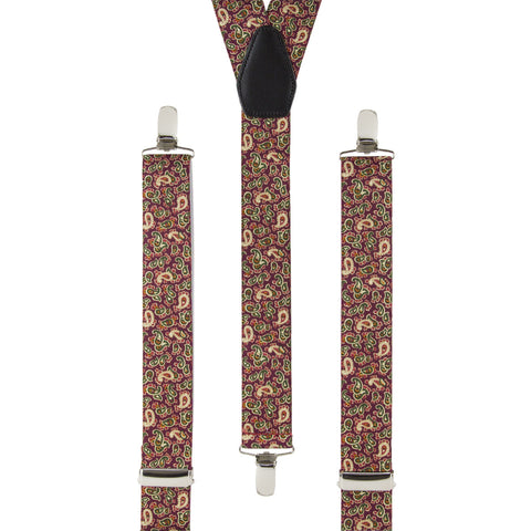 Burgundy and Cream Paisley Trouser Braces