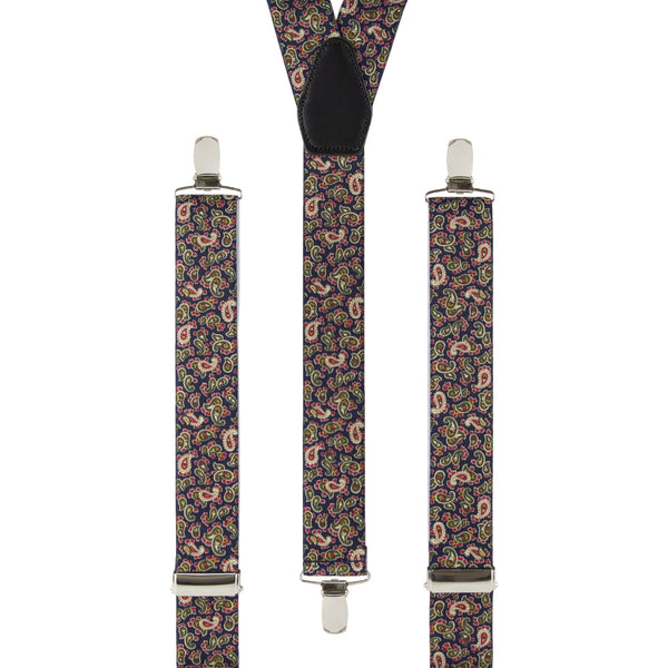 Navy and Cream Paisley Trouser Braces