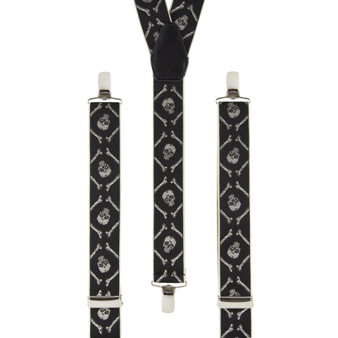 Skull and Crossbones Black and Ivory Braces