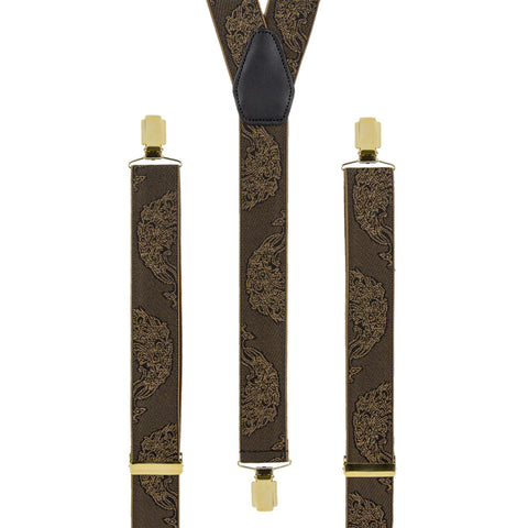 Black braces with smart Bronze Peacock Braces pattern, gold slides and clips