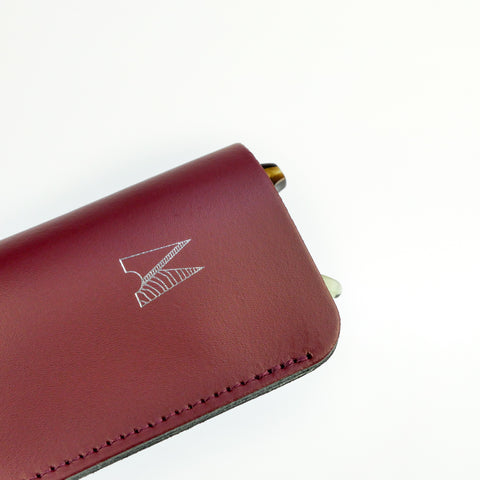 Burgundy Leather Glasses Case - Chroma