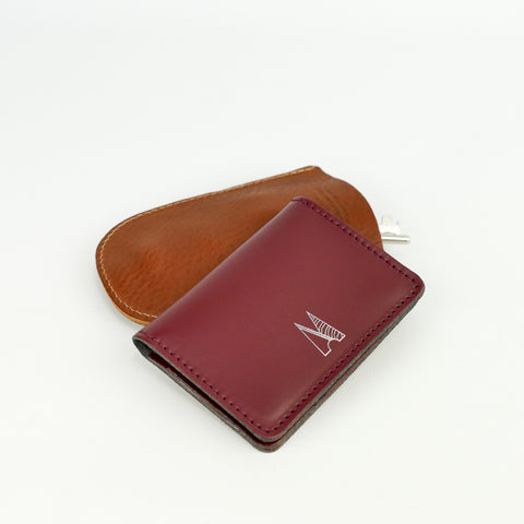 Burgundy Leather Card Holder - Chroma