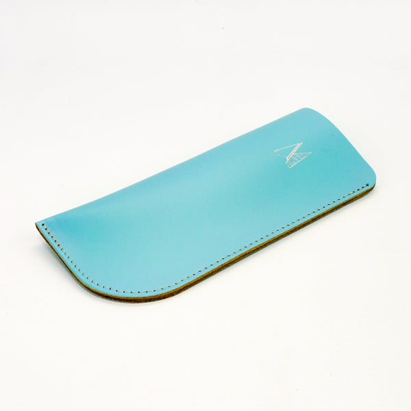 Sky Blue Leather Glasses Case - Chroma