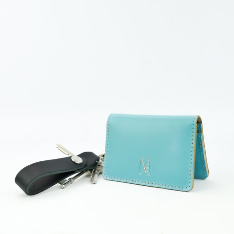 Sky Blue Leather Card Holder - Chroma
