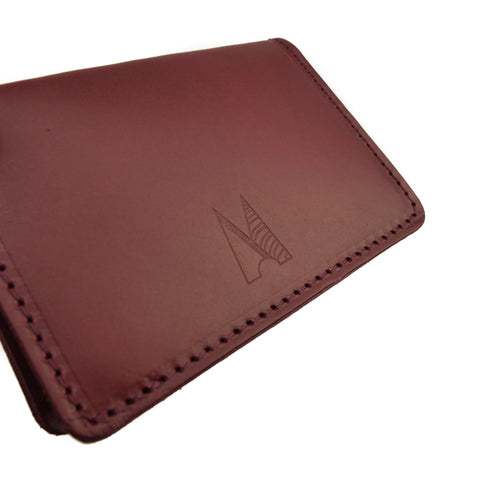 Burgundy Leather Card Holder - Roam