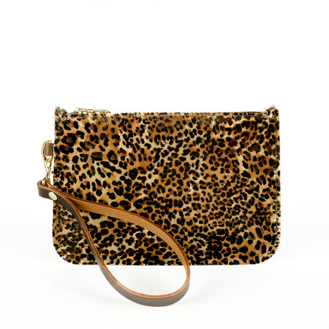 Hair on Hide Mini Leopard print Leather Clutch Bag - Roam