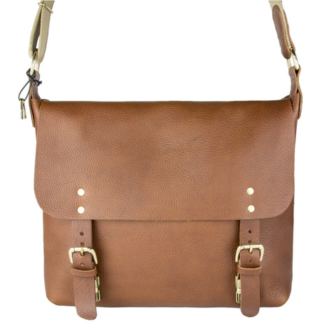 Aubrey Large Tan Leather Satchel