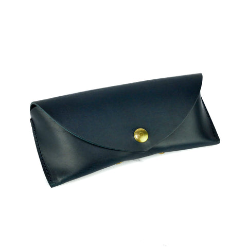 Deep Navy Leather Sunglasses Case - Roam