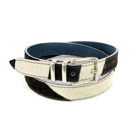 "Zebra Hair on Hide 1"" Leather Belt - Roam"