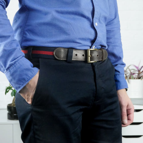 Leather Trimmed Elasticated Webbing Belt Navy and Red