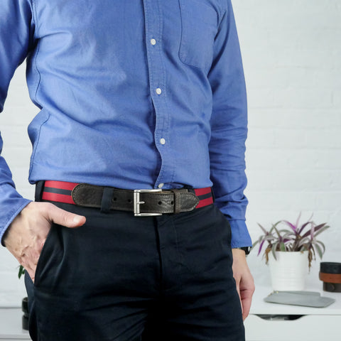 Leather Trimmed Webbing Belt Red and Navy