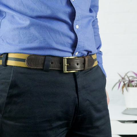 Leather Trimmed Webbing Belt Yellow and Navy