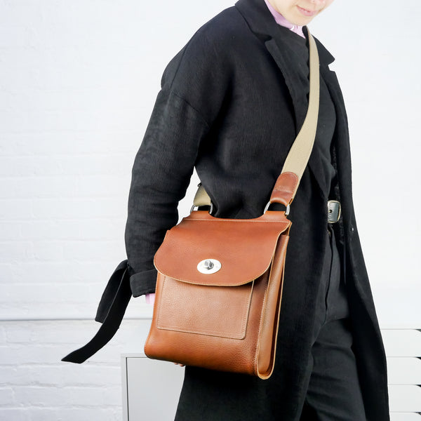 Tan Leather Turnlock Shoulder Bag