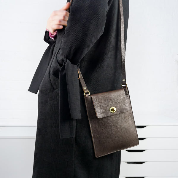Flat Brown Leather Turnlock Bag
