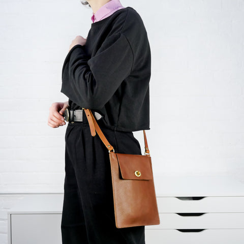 Flat Tan Leather Turnlock Bag