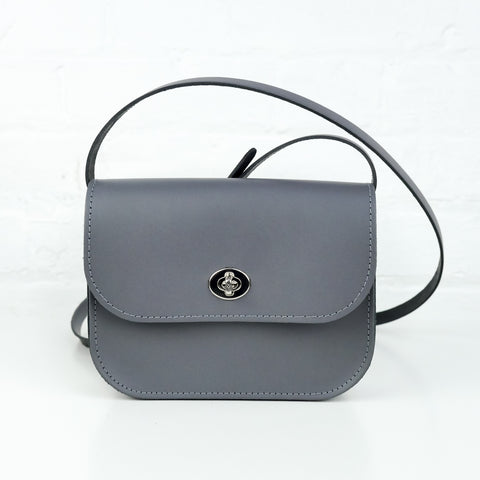Slate Grey Leather Shoulder Bag - Chroma